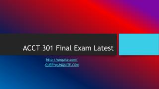 ACCT 301 Final Exam Latest