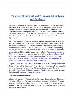 Windows 10 support and windows 8 assistance