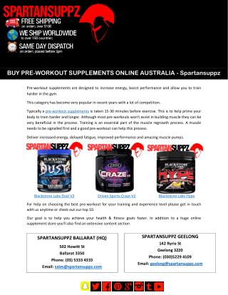 BUY PRE-WORKOUT SUPPLEMENTS ONLINE AUSTRALIA –Spartansuppz