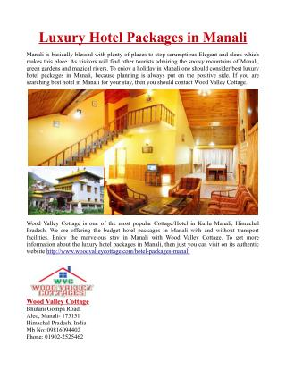 Luxury Hotel Packages in Manali