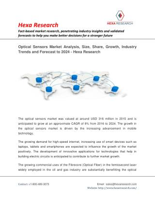 Optical Sensors Market is Anticipated to Grow at an Approximate CAGR of 8% from 2016 to 2024 | Hexa Research