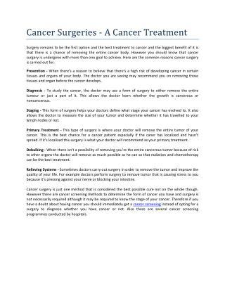 Cancer Surgeries - A Cancer Treatment