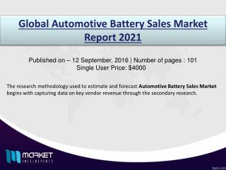 Automotive Battery Sales Market: North America dominates with high investment through 2021.