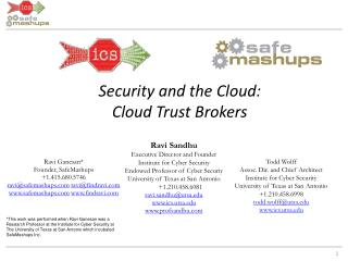 Security and the Cloud: Cloud Trust Brokers