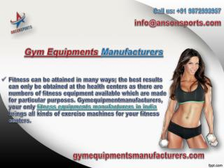 fitness and exercise equipments manufacturers India