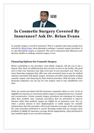 Is Cosmetic Surgery Covered By Insurance? Ask Dr. Brian Evans