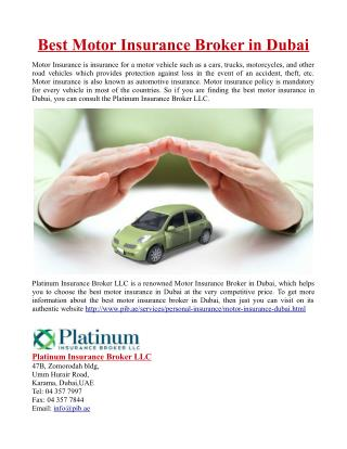 Best Motor Insurance Broker in Dubai