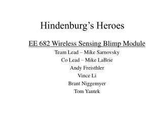 Hindenburg's Heroes