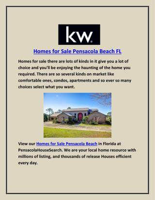 Homes for Sale Pensacola Beach FL