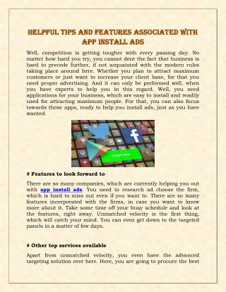 Helpful Tips And Features Associated With App Install Ads
