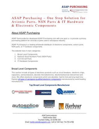 ASAP Purchasing – One Stop Solution for Aviation Parts