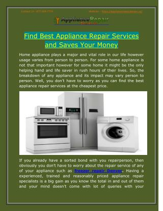 Find Best Appliance Repair Services and Saves Your Money