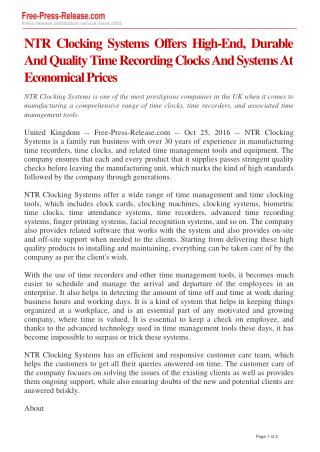 NTR Clocking Systems Offers High-End, Durable And Quality Time Recording Clocks And Systems At Economical Prices