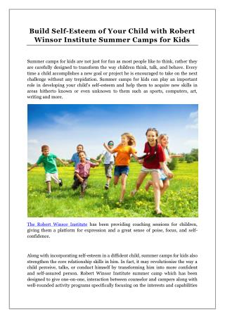 Build Self-Esteem of Your Child with Robert Winsor Institute Summer Camps for Kids