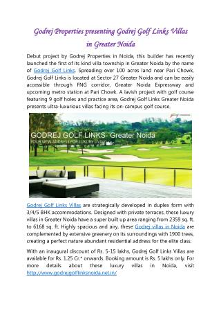 Godrej Properties presenting Godrej Golf Links Villas