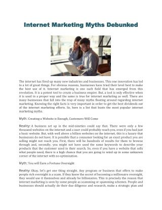 Internet Marketing Myths Debunked