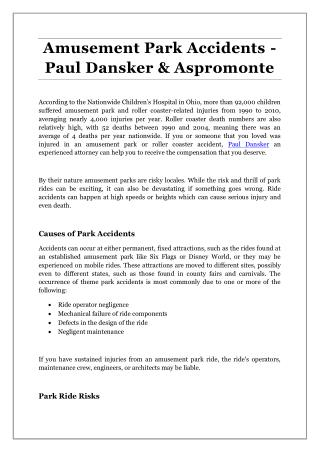 Amusement Park Accidents - Paul Dansker & Aspromonte