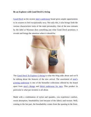 Be an Explorer with Good Devil G-String