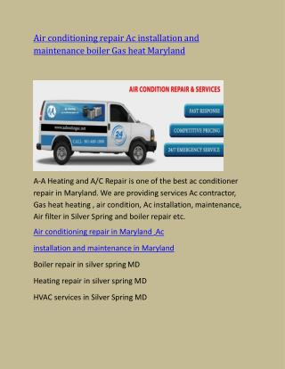 Ac Air conditioning Air conditioner, contractor Gas heat repair in Maryland