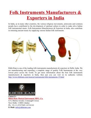 Folk Instruments Manufacturers & Exporters in India