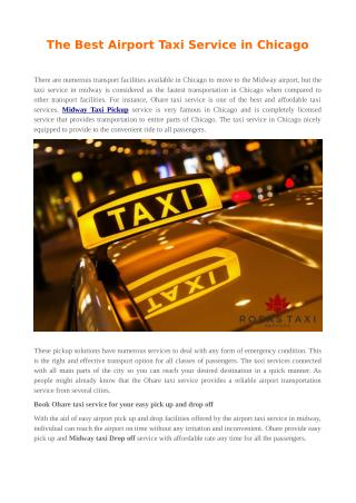 The Best Airport Taxi Service in Chicago