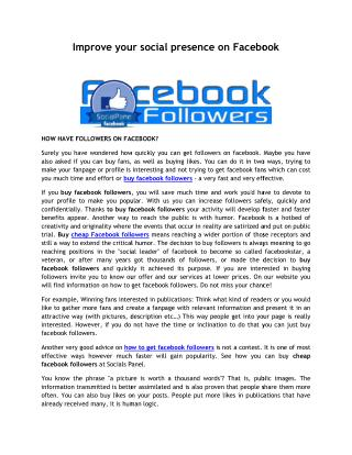 Improve your social presence on facebook