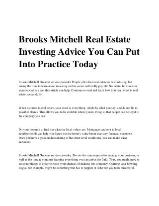 Brooks Mitchell Real Estate Investing Advice You Can Put Into Practice Today