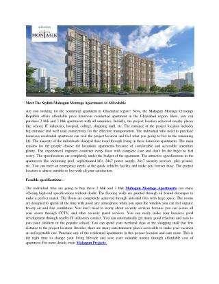 Meet The Stylish Mahagun Montage Apartment At Affordable