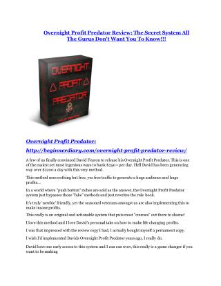 Overnight Profit Predator review - Overnight Profit Predator  100 bonus items