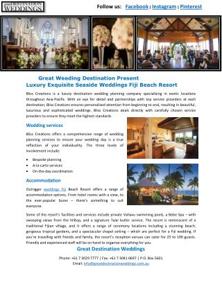 Great Weeding Destination Present Luxury Exquisite Seaside Weddings Fiji Beach Resort