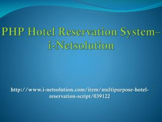 PHP Hotel Reservation System – i-Netsolution