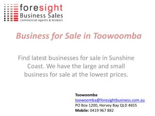 Business for Sale in Toowoomba