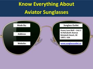 Aviator Sunglasses-A Complete Guide