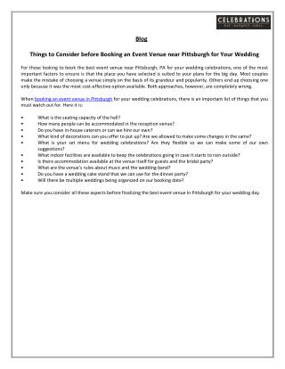 Things to Consider before Booking an Event Venue near Pittsburgh for Your Wedding