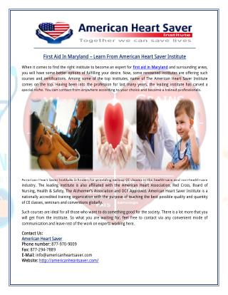 First Aid In Maryland – Learn From American Heart Saver Institute