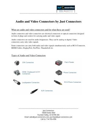 Audio and Video Connectors by Just Connectors