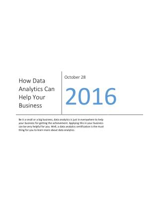 How Data Analytics Can Help Your Business