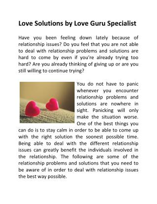 Love Solutions by Love Guru Specialist