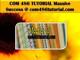COM 486 TUTORIAL Massive Success @ com486tutorial.com