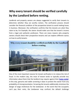 Why every tenant should be verified carefully by the Landlord before renting.