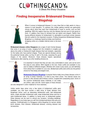 Bridesmaid Dresses Singapore Blogshop