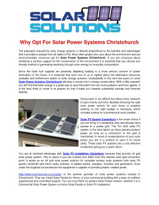 Solar Power Systems Christchurch