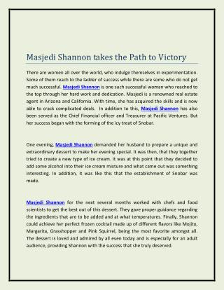 Masjedi Shannon takes the Path to Victory