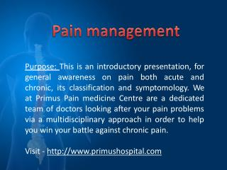 Pain management programs - Chronic Pain Treatment Program at Primus Hospital