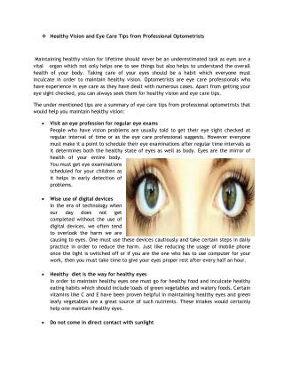 Healthy Vision and Eye Care Tips from Professional Optometrists
