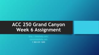 ACC 250 Grand Canyon Week 6 Assignment