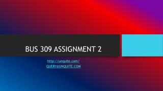 BUS 309 ASSIGNMENT 2
