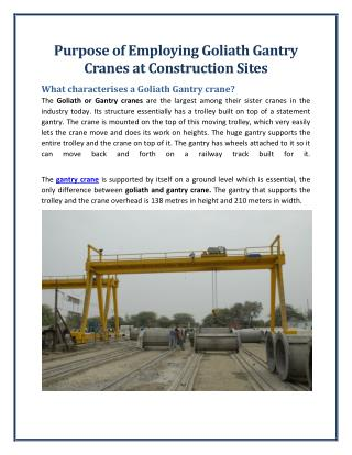 Goliath Crane - The Useful Crane in Today's Industry