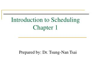 Introduction to Scheduling Chapter 1