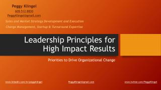 Leadership Principles for High Impact Results by Peggy Klingel